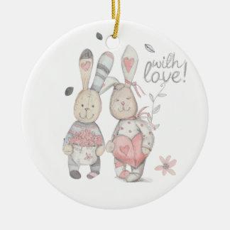 Ornamento De Cerâmica casal banny 2 do coelho