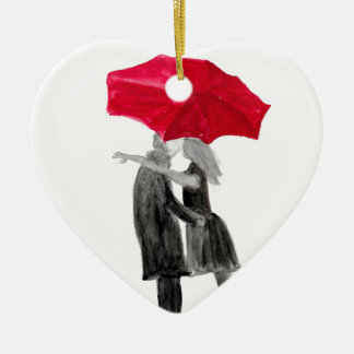 Ornamento De Cerâmica Casal do amor com guarda-chuva vermelho