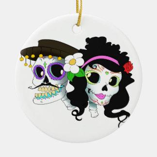 Ornamento De Cerâmica Casal festivo mexicano do crânio