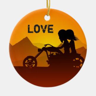 Ornamento De Cerâmica Casal personalizado da motocicleta no AMOR do por