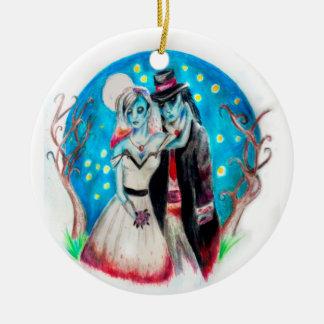 Ornamento De Cerâmica Casamento azul da meia-noite do zombi