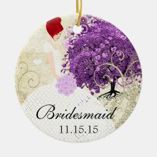 Ornamento De Cerâmica Casamento brilhante da árvore da folha de Purple