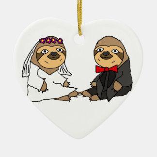 Ornamento De Cerâmica Casamento engraçado dos noivos da preguiça