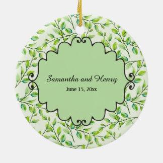 Ornamento De Cerâmica Casamento feito sob encomenda da foto das folhas e