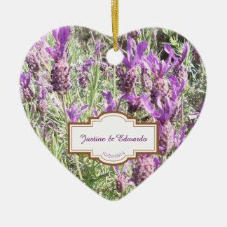 Ornamento De Cerâmica Casamento personalizado flores da lavanda francesa