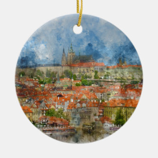 Ornamento De Cerâmica Castelo de Praga com a ponte famosa de Charles em