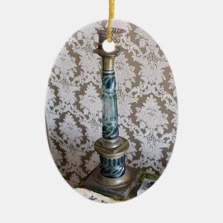 Ornamento De Cerâmica Castiçal do vidro do vintage