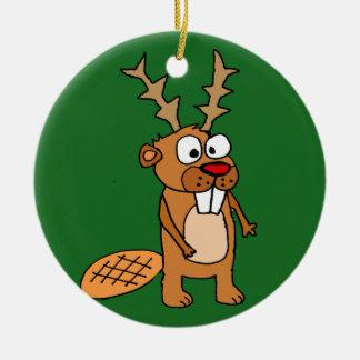 Ornamento De Cerâmica Castor engraçado com arte do Natal dos Antlers da
