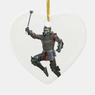 Ornamento De Cerâmica Cavaleiro com Mace que pula à direita