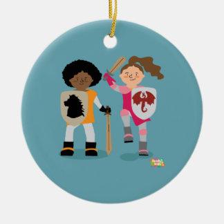 Ornamento De Cerâmica Cavaleiro das meninas para fora