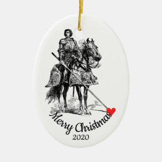 Ornamento De Cerâmica Cavaleiro datado feito sob encomenda do Natal no
