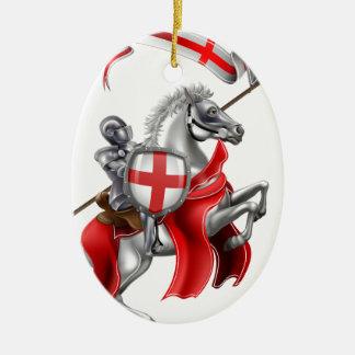 Ornamento De Cerâmica Cavaleiro medieval de St George no cavalo