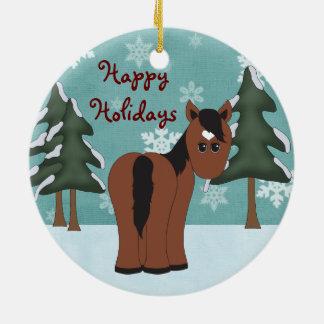 Ornamento De Cerâmica Cavalo bonito personalizado de Brown boas festas