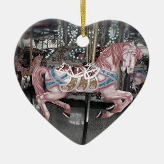 Ornamento De Cerâmica Cavalo cor-de-rosa do carrossel