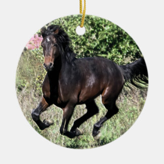 Ornamento De Cerâmica Cavalo de galope da castanha
