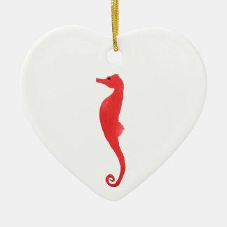Ornamento De Cerâmica Cavalo de Mar Vermelho