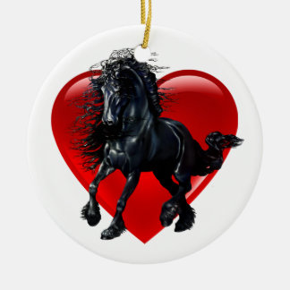Ornamento De Cerâmica Cavalo do frisão, garanhão preto, coração preto da