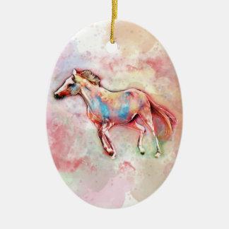Ornamento De Cerâmica Cavalo na aguarela