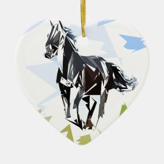 Ornamento De Cerâmica Cavalo preto