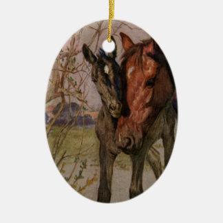 """Ornamento De Cerâmica Cavalo preto da beleza do vintage """"meus mãe e I """""""