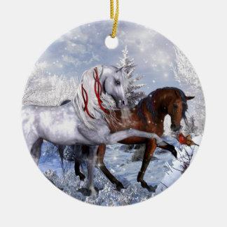 Ornamento De Cerâmica Cavalos do feriado do Natal