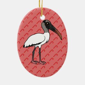 Ornamento De Cerâmica Cegonha de madeira de Birdorable