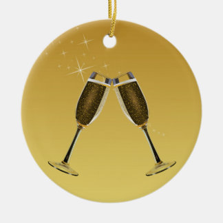 Ornamento De Cerâmica Celebração dos vidros de Champagne no ouro