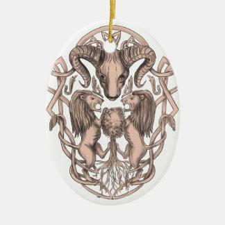 Ornamento De Cerâmica Céltico Knotwo da brasão da árvore do leão dos