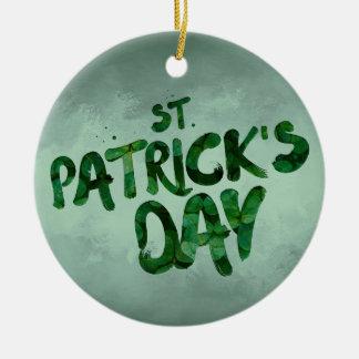 Ornamento De Cerâmica Céltico verde do irlandês do trevo do Dia de São