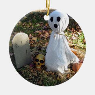 Ornamento De Cerâmica Cemitério, fantasma & abóbora