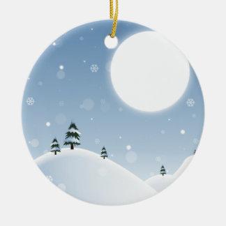 Ornamento De Cerâmica Cena da neve do inverno