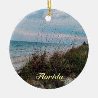Ornamento De Cerâmica Cena do beira-mar do oceano de Florida
