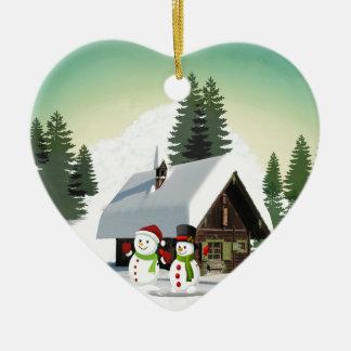 Ornamento De Cerâmica Cena do boneco de neve do Natal