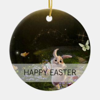 Ornamento De Cerâmica Cena mágica do coelhinho da Páscoa da fantasia
