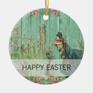 Ornamento De Cerâmica Cena rústica pintada vintage do coelho da páscoa
