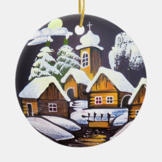Ornamento De Cerâmica Cenário bonito do inverno da vila