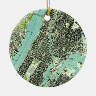 Ornamento De Cerâmica Central Park do vintage & Bronx NY Mapa (1947)