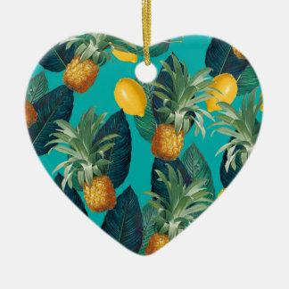 Ornamento De Cerâmica cerceta do pineaple e dos limões