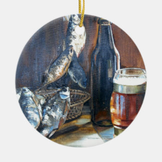 Ornamento De Cerâmica Cerveja e peixes