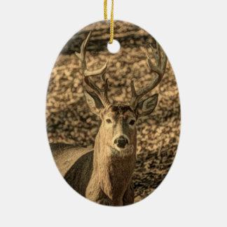Ornamento De Cerâmica cervos de whitetail do outdoorsman da camuflagem