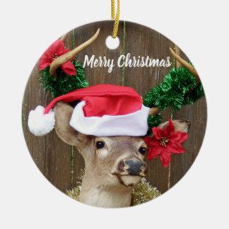 Ornamento De Cerâmica Cervos de Whitetail engraçados do fanfarrão do