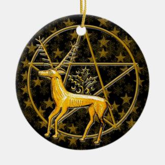 Ornamento De Cerâmica Cervos do ouro & Pentacle - #1 frente e verso