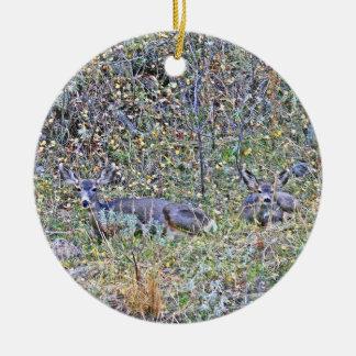 Ornamento De Cerâmica Cervos e jovens corças da gama