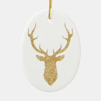 Ornamento De Cerâmica Cervos elegantes do Natal do brilho do ouro do