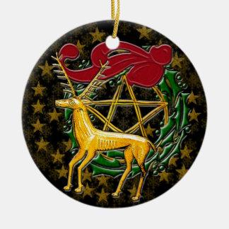 Ornamento De Cerâmica Cervos, grinalda, & Pentacle do ouro - #1 frente e