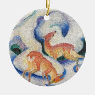 Ornamento De Cerâmica Cervos na neve por Franz Marc