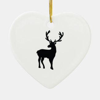 Ornamento De Cerâmica Cervos preto e branco