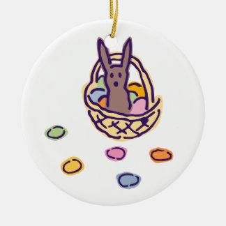 Ornamento De Cerâmica Cesta do coelho de Ghoulie do felz pascoa