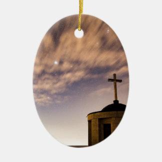Ornamento De Cerâmica céu estrelado, igreja e cruz