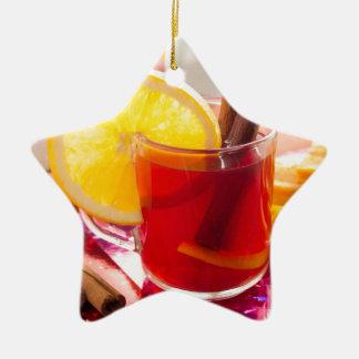 Ornamento De Cerâmica Chá do citrino da fruta com canela e laranja